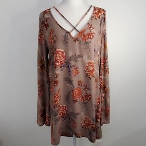 Free People oversized floral top size small